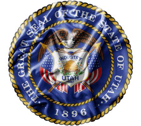 Ruffled waving United States Utah Seal flag Zdjęcie Seryjne