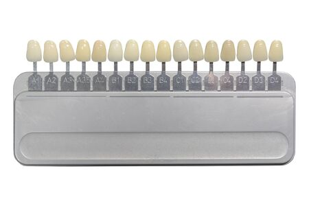 Classical teeth prosthesis shades dental of implants stomatology isolated on white Zdjęcie Seryjne