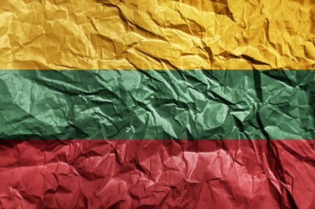Lithuania flag painted on crumpled paper background Stock fotó