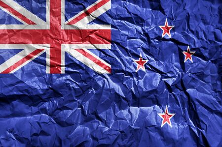 New Zeland flag painted on crumpled paper background Stok Fotoğraf