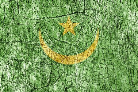 Grudge stone painted Mauritania flag Фото со стока