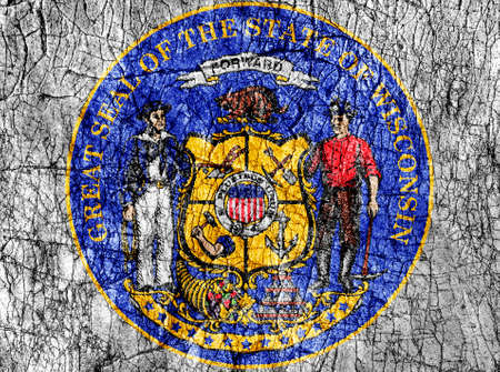 Grudge stone painted US Wisconsin seal flag