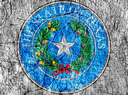 Grudge stone painted US Texas seal flag