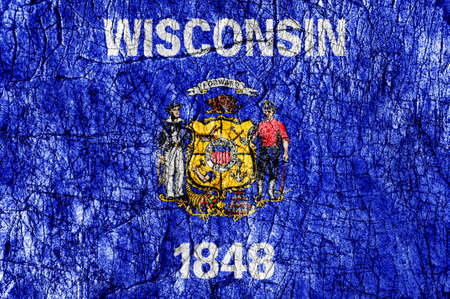 Grudge stone painted US Wisconsin flag