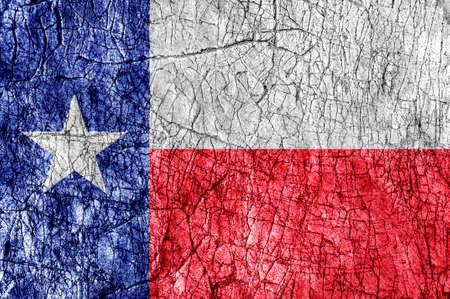 Grudge stone painted US Texas flag