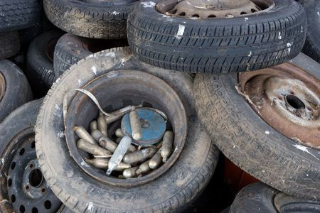 illegally: Illegally dumped tyres