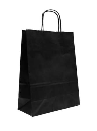 black empty shopping bag on white background  photo