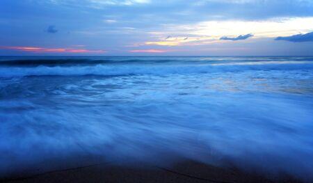 dawning: Twilight sea wave, Maikao beach Phuket