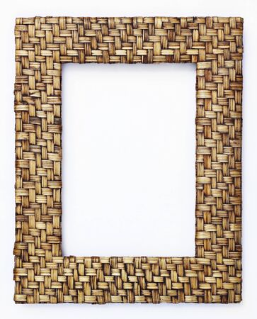 bamboo weave picture frame isolated on white background  photo