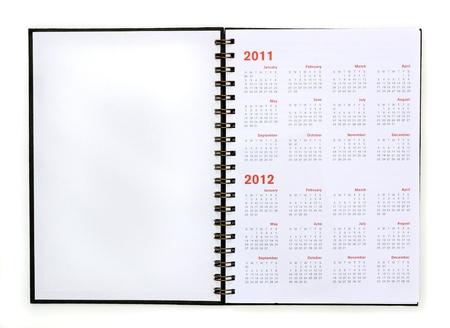 open note book with calendar 2011, 2012  Banco de Imagens