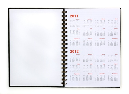 open note book with calendar 2011, 2012 Stock Photo - 10142701