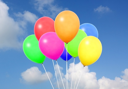 colorfull: colorful balloons in blue sky  Stock Photo