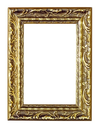 bordering: Empty golden vintage frame isolated on white background