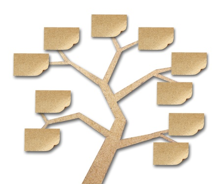 sticky notes on tree made of recycled paper craft stick Stock Photo - 10226717
