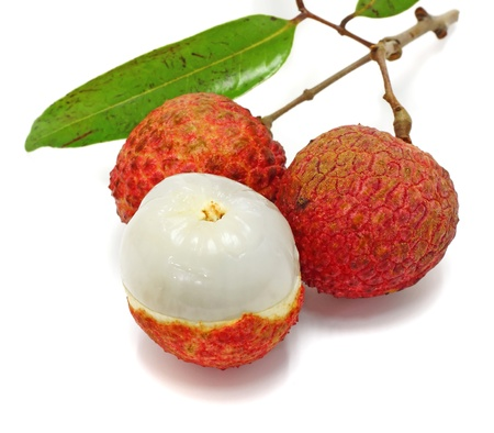 lychee: Fresh lychees isolated on white Stock Photo
