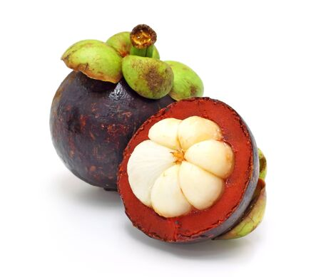 mangosteen: fresh fruit, mangosteen on white background