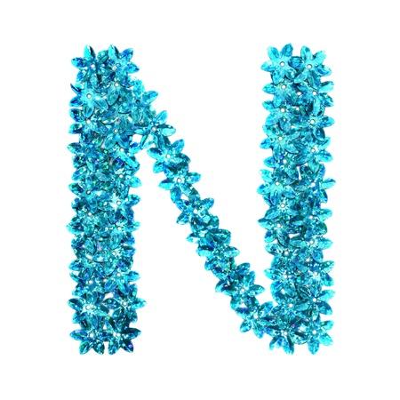 sequins: alphabet made of blue craft sequins