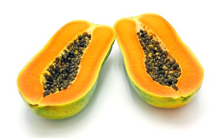 cutaneous: papaya on white background.  Stock Photo