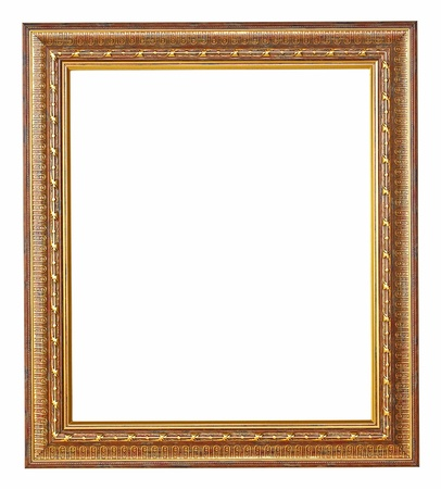 picture frame on wall: Gold picture frame with a decorative pattern  Stock Photo