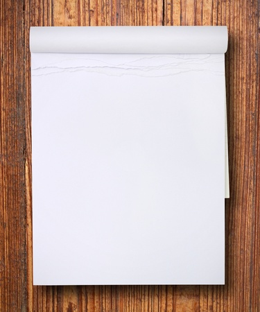 sketchbook: white blank paper tablet on wood  Stock Photo