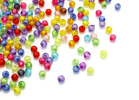 gem stones: Colorful beads isolated on white background  Stock Photo