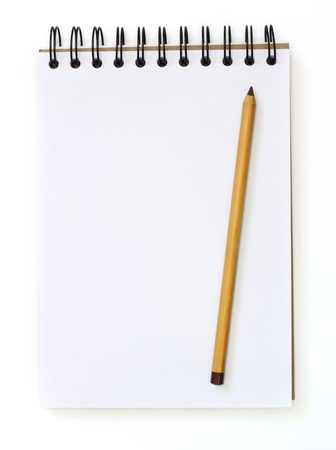 work books: white sketch book and sepia pencil isolated on white  Stock Photo