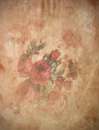 vintage rose , Old paper background  photo
