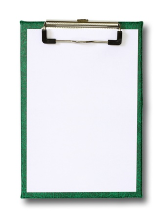 blank paper on green clip board isolated on white  photo