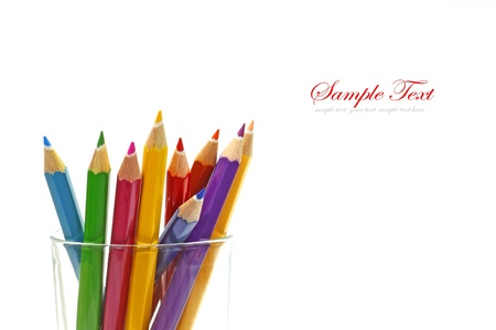 descriptive colours: Various colour pencils isolated on the white  Stock Photo