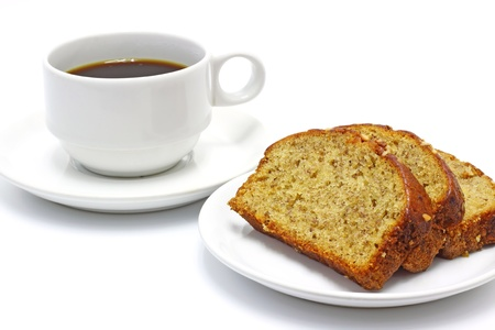 coffee and banana bread isolated on white background