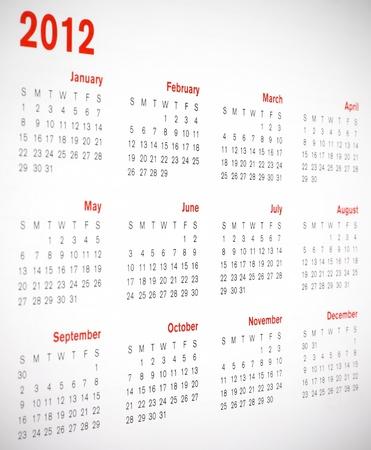 A 2012 calendar Stock Photo - 10339438