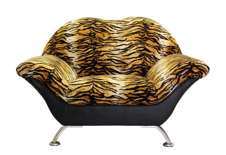 armchair with tiger fur, isolated on white background  photo