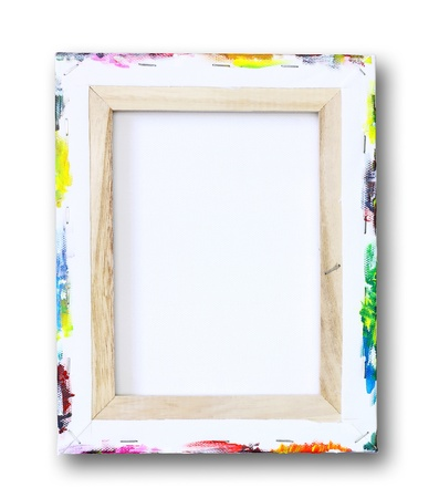 blank canvas: canvas on a stretcher, acrylic paint on edge isolated on white