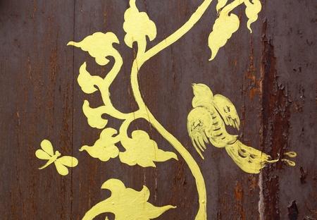 art door: gold painting on wood texture