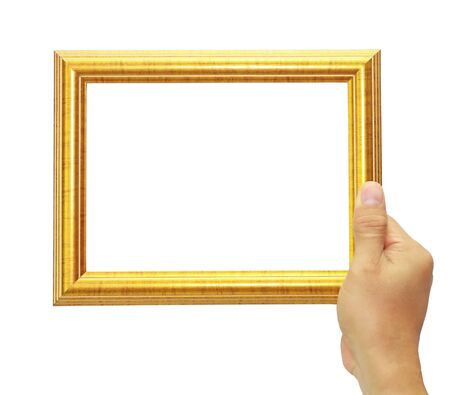 Frame in hand isolated on white background  photo