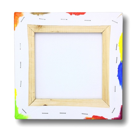 blank canvas: Square canvas on a stretcher, acrylic paint on edge isolated on white  Stock Photo