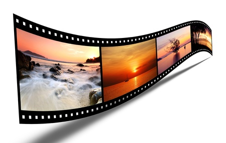 film roll: 3D film strip with nice pictures Stock Photo