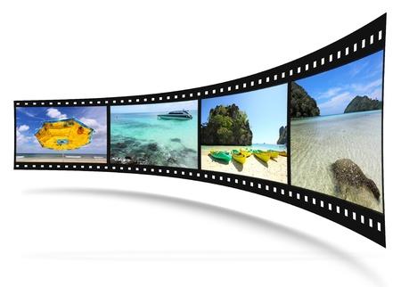 rollo pelicula: Tira de película 3D con buenas fotos  Foto de archivo