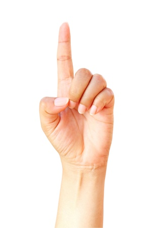 Woman index finger isoalted on white background Stock Photo - 10758818