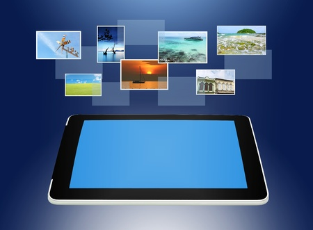 touch screen phone: Tablet PC concept of global business