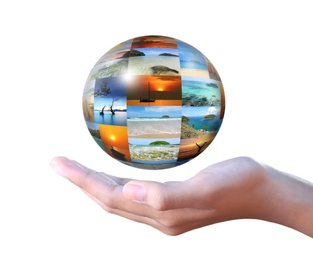 conceptual image: Photo globe on hand concept for tourism