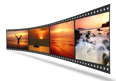 movie film reel: 3D film strip with nice pictures