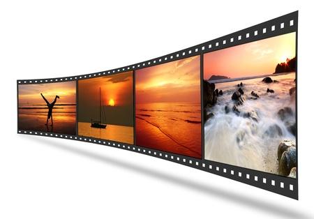 carrete de cine: 3D tira de pel�cula con buenas fotos
