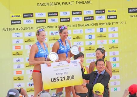 PHUKET, THAILAND - NOVEMBER 6: america players celebrate winning silver medal of the SWATCH FIVB World Tour 2011 on November 6, 2011 at Karon Beach in Phuket, Thailand