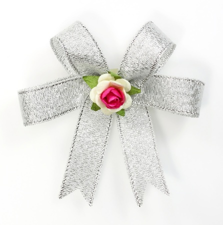 Beautiful silver bow on white background  photo