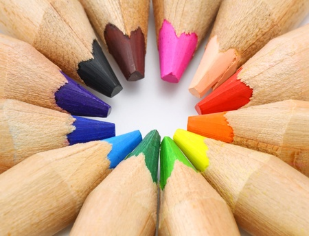 Color pencils set as color wheel on white background  photo
