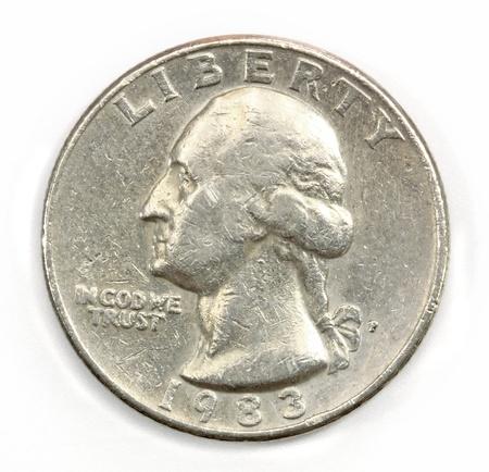 twenty five: La moneda estadounidense en veinte y cinco centavos Foto de archivo