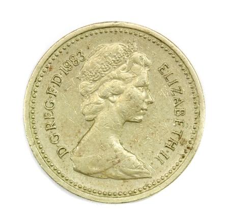 monedas antiguas: Inglés moneda de una libra de 1983 Foto de archivo