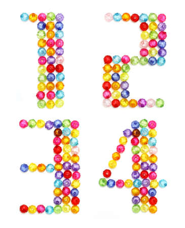 letter numbers made of colorful beads on white background  photo