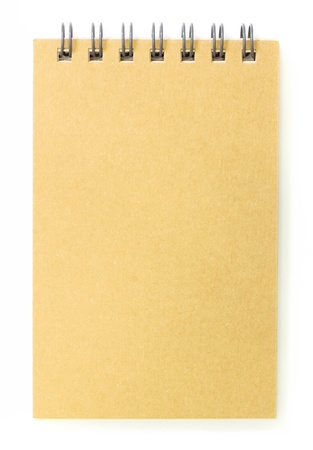notebook paper background: brown cover notebook recycle paper isolated on white background